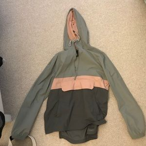 URBAN OUTFITTERS grey and pink rain/wind jacket